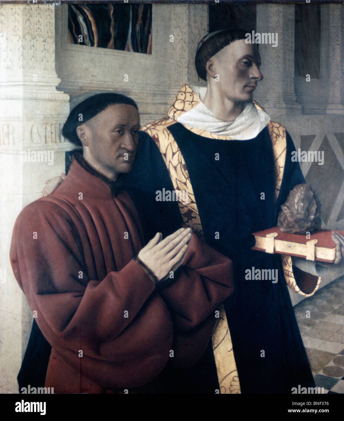 Etienne Chevalier and Saint Stephen by Jean Fouquet, (Circa 1420-1480) - Stock Image
