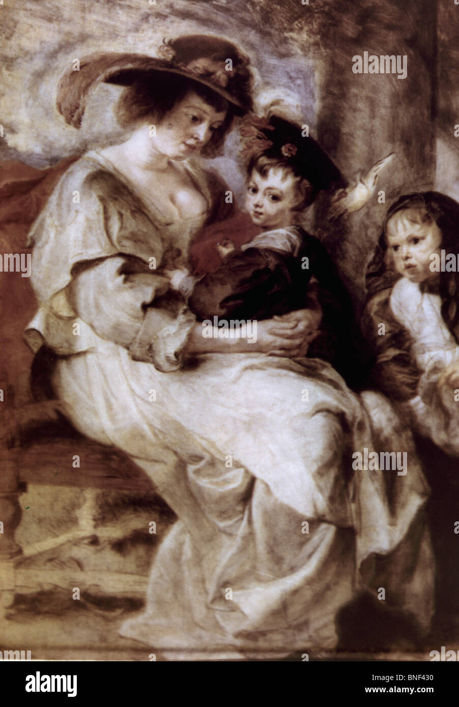 Helene Fourment and Her Children by Peter Paul Rubens, oil on wood, circa 1638, 1577-1640, France, Paris, Musee - Stock Image