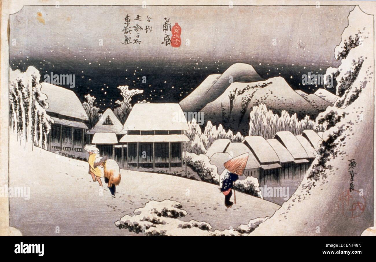 The Fifty-Three Stations of Tokaido, Kanbara by Utagawa Hiroshige, woodcut print, 19th century, 1797-1858 - Stock Image