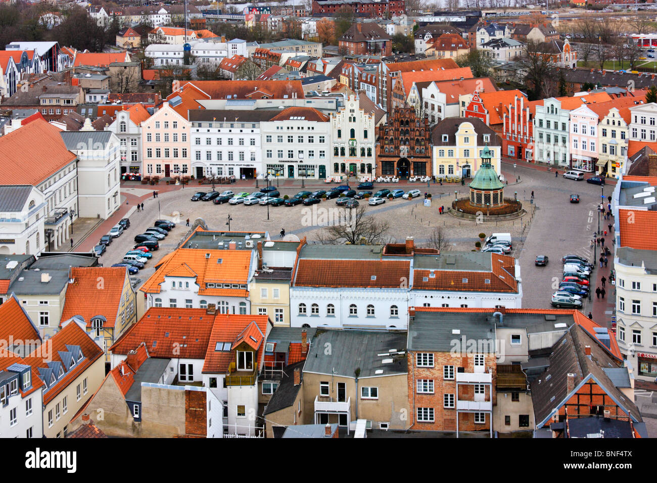 Aerial View over the market square, Wismar, Germany - Stock Image