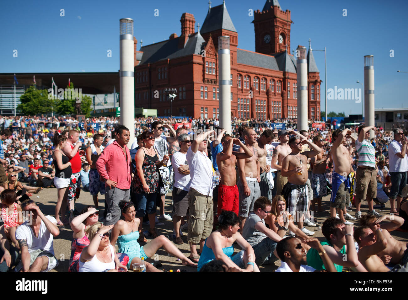 The 2010 Football League Championship play-off Final between Blackpool and Cardiff City watched on a big screen - Stock Image