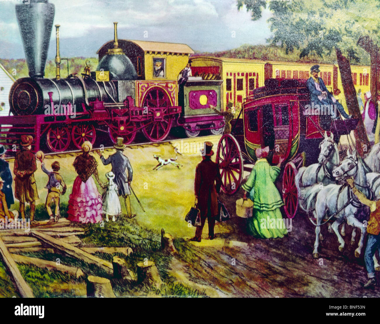 First Train In Town In 1860's, artist unknown - Stock Image