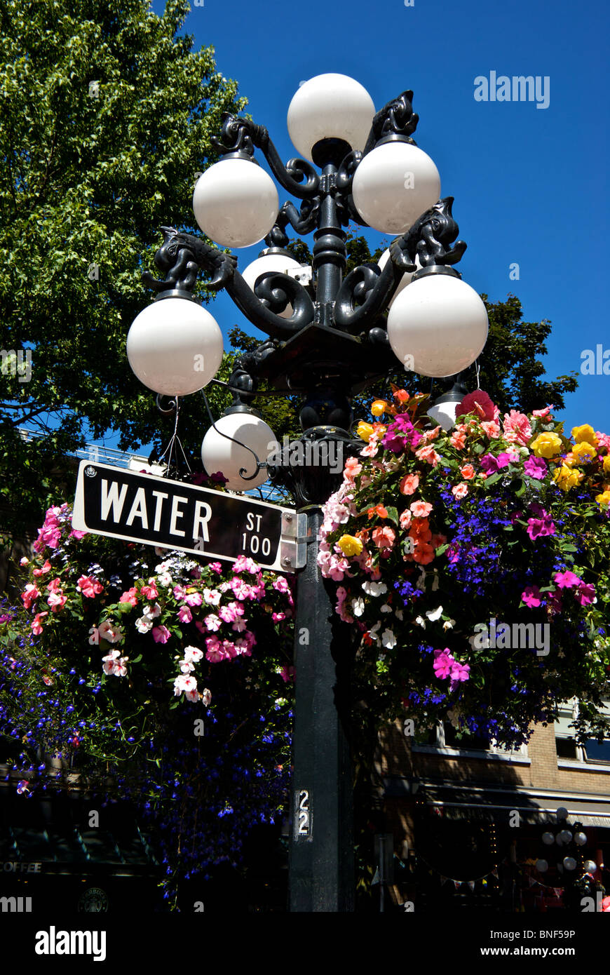 water street sign on lamp post with globe light bulb holders hanging