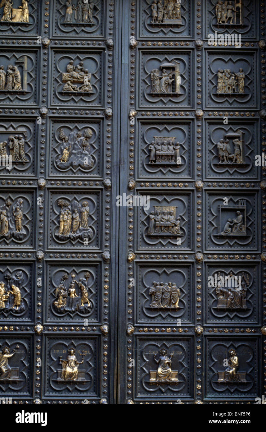 Italy Florence Life of St. John the Baptist (Southern Doors of Baptistery) by Andrea Pisano 1336 (1290-1348/9) & Italy Florence Life of St. John the Baptist (Southern Doors of ...