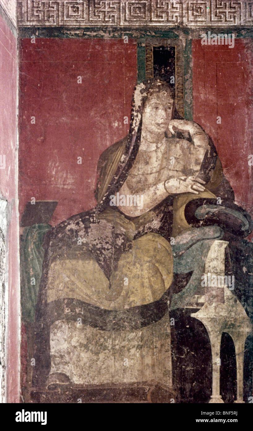 Italy, Pompeii, Villa of the Mysteries, The Domini (Initiated Bride), fresco, 50 BCE - Stock Image