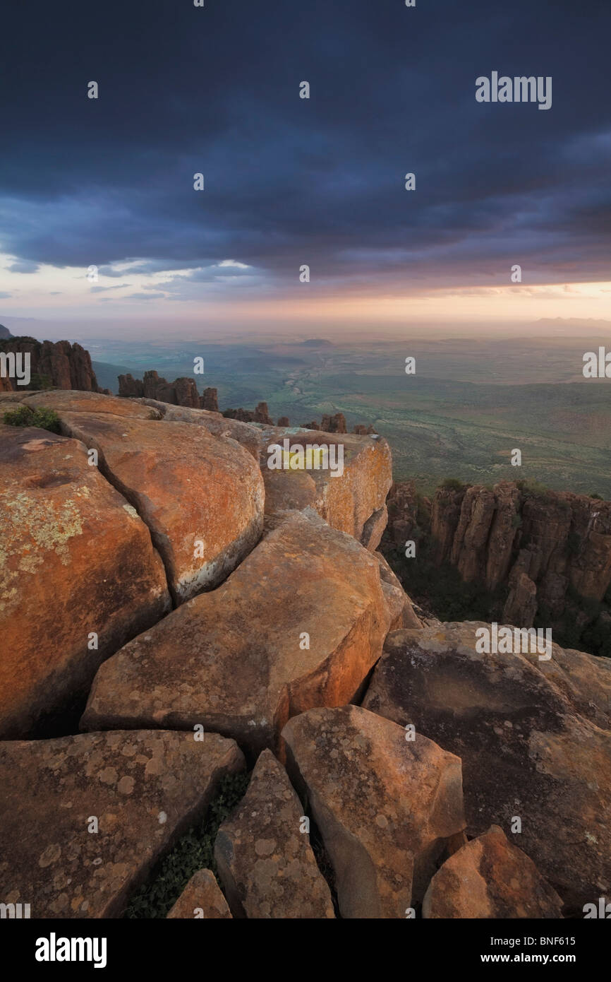 View of Great Karoo from Valley of Desolation at sunset, Graaff Reinet, Eastern Cape Province, South Africa - Stock Image