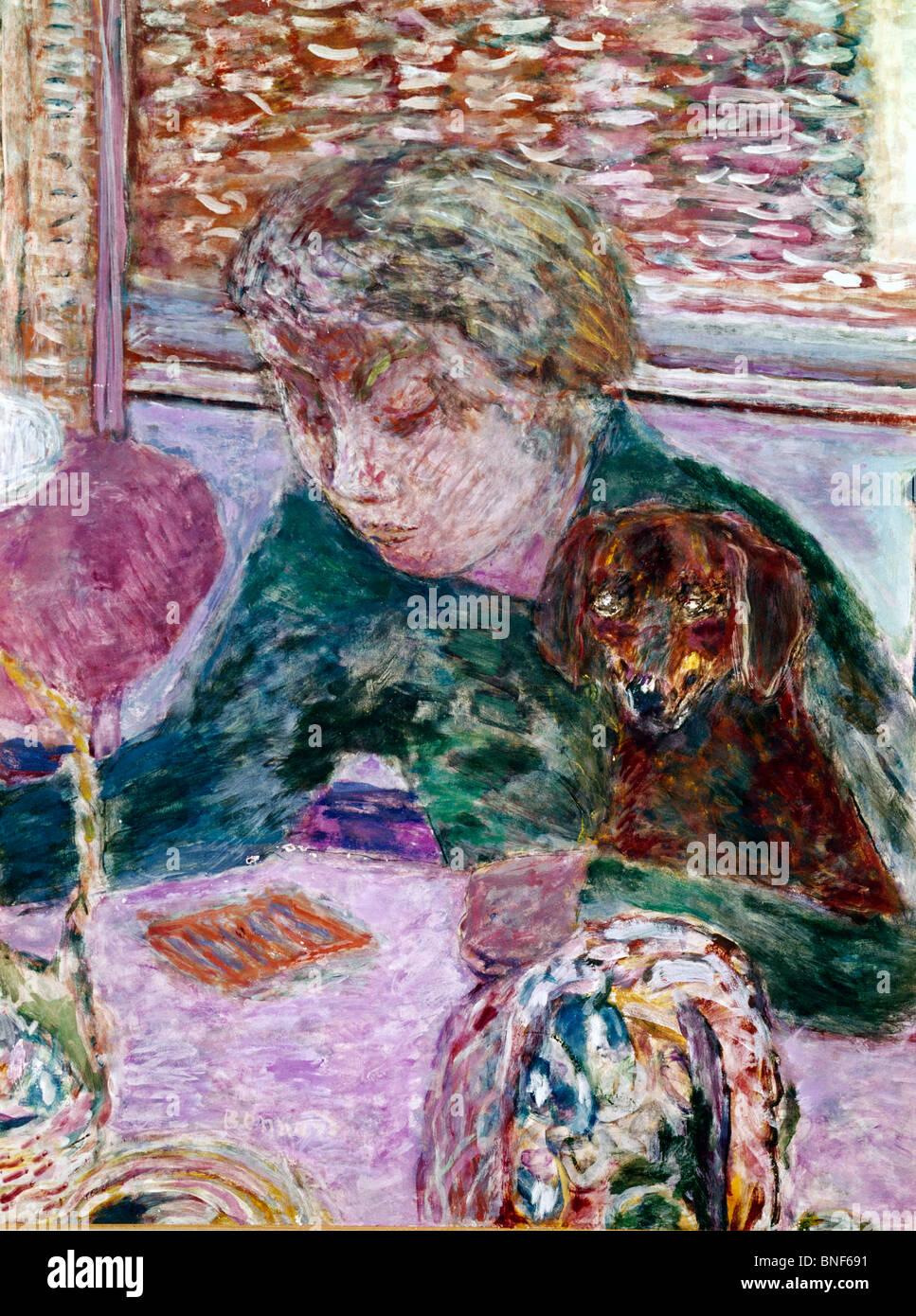 Portrait au Chien by Pierre Bonnard, (1867-1947), France, Albi, Musee Toulouse-Lautrec - Stock Image