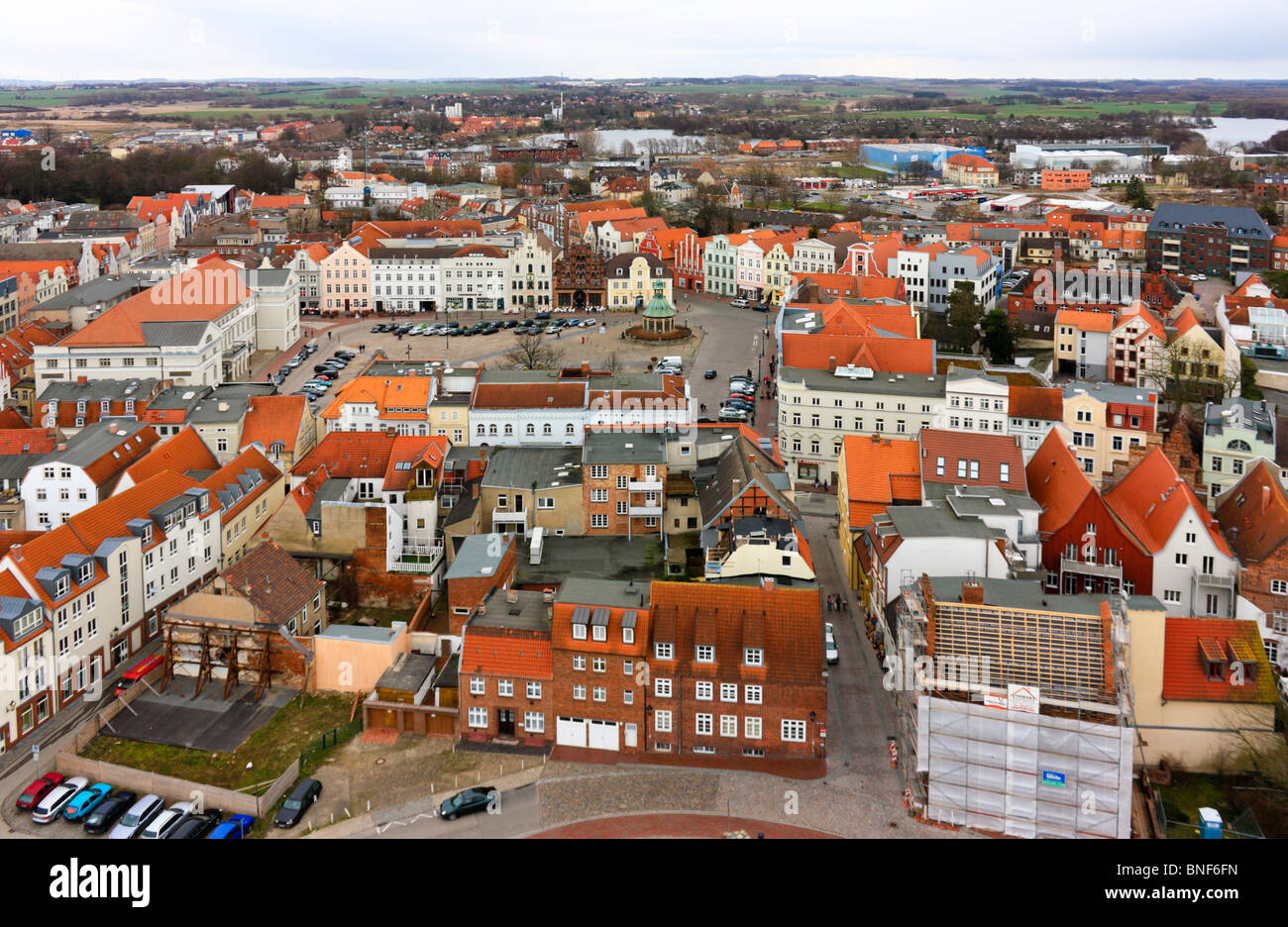 Aerial View over Wismar, Germany - Stock Image