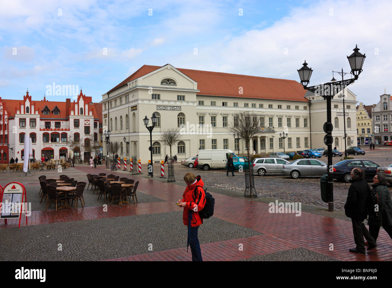 City Center with Market Place and Town Hall in Wismar, Germany - Stock Image