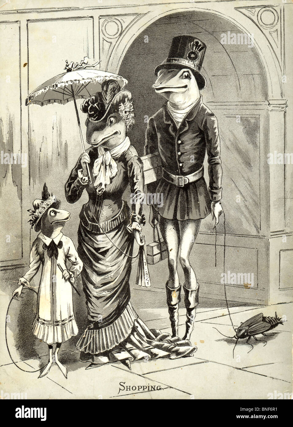 Frogs on a shopping expedition with attendant footman Stock Photo