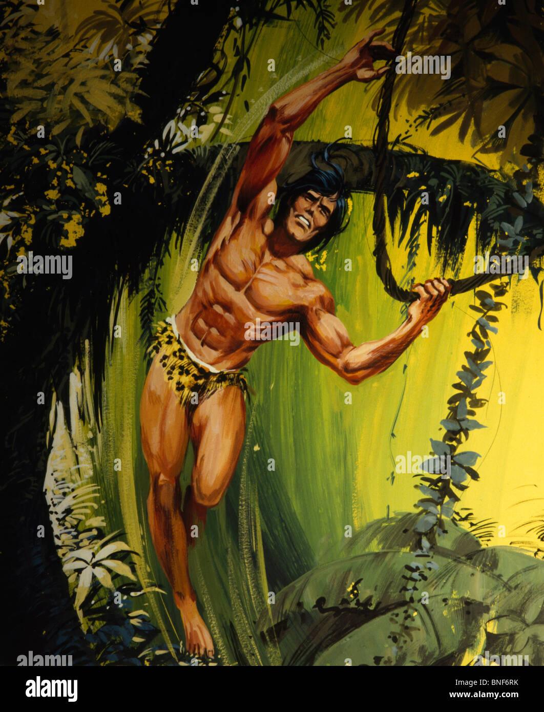 Tarzan in jungle Stock Photo - Alamy
