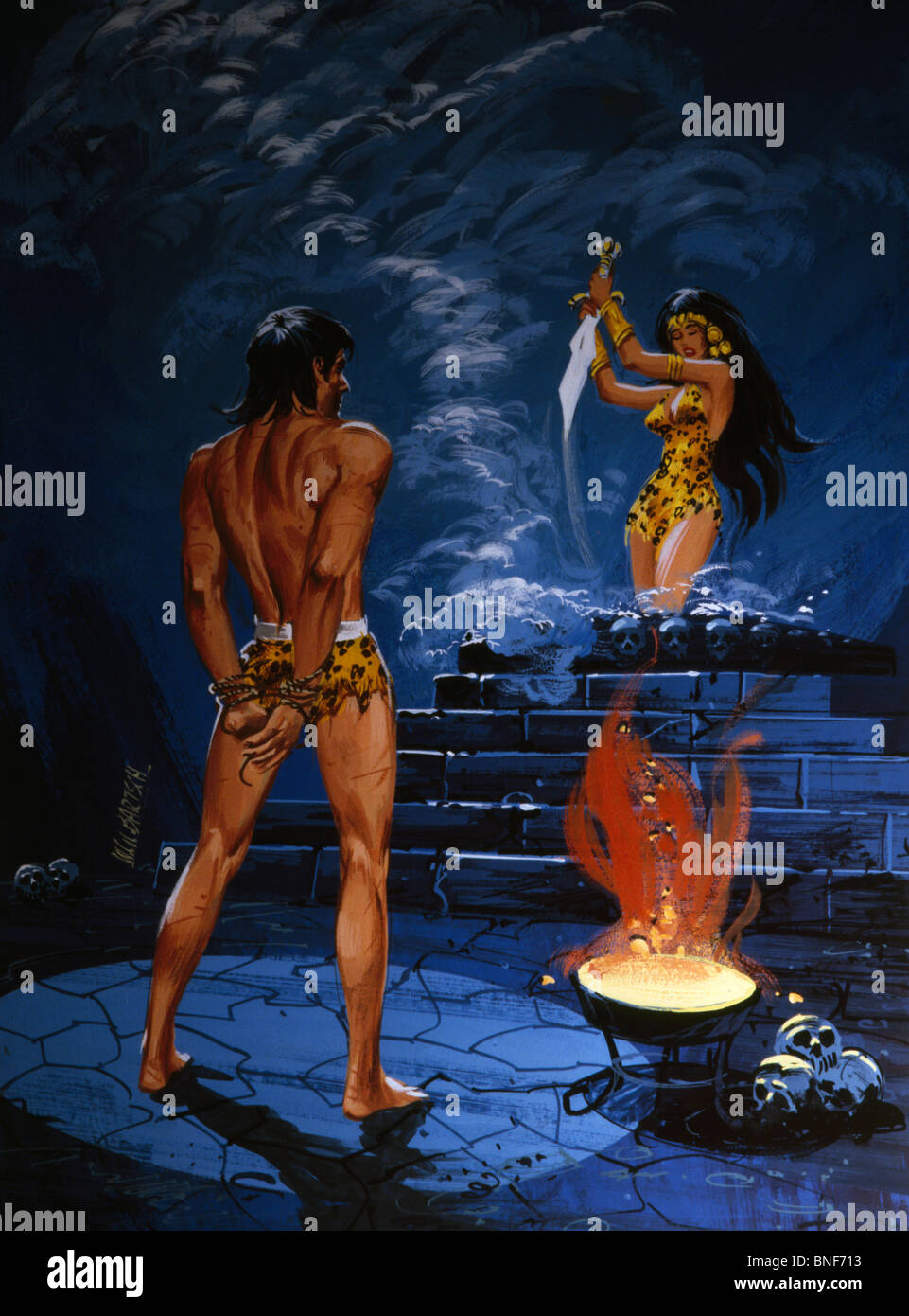 Tide-up Tarzan standing in front of priestess holding sword, illustration - Stock Image