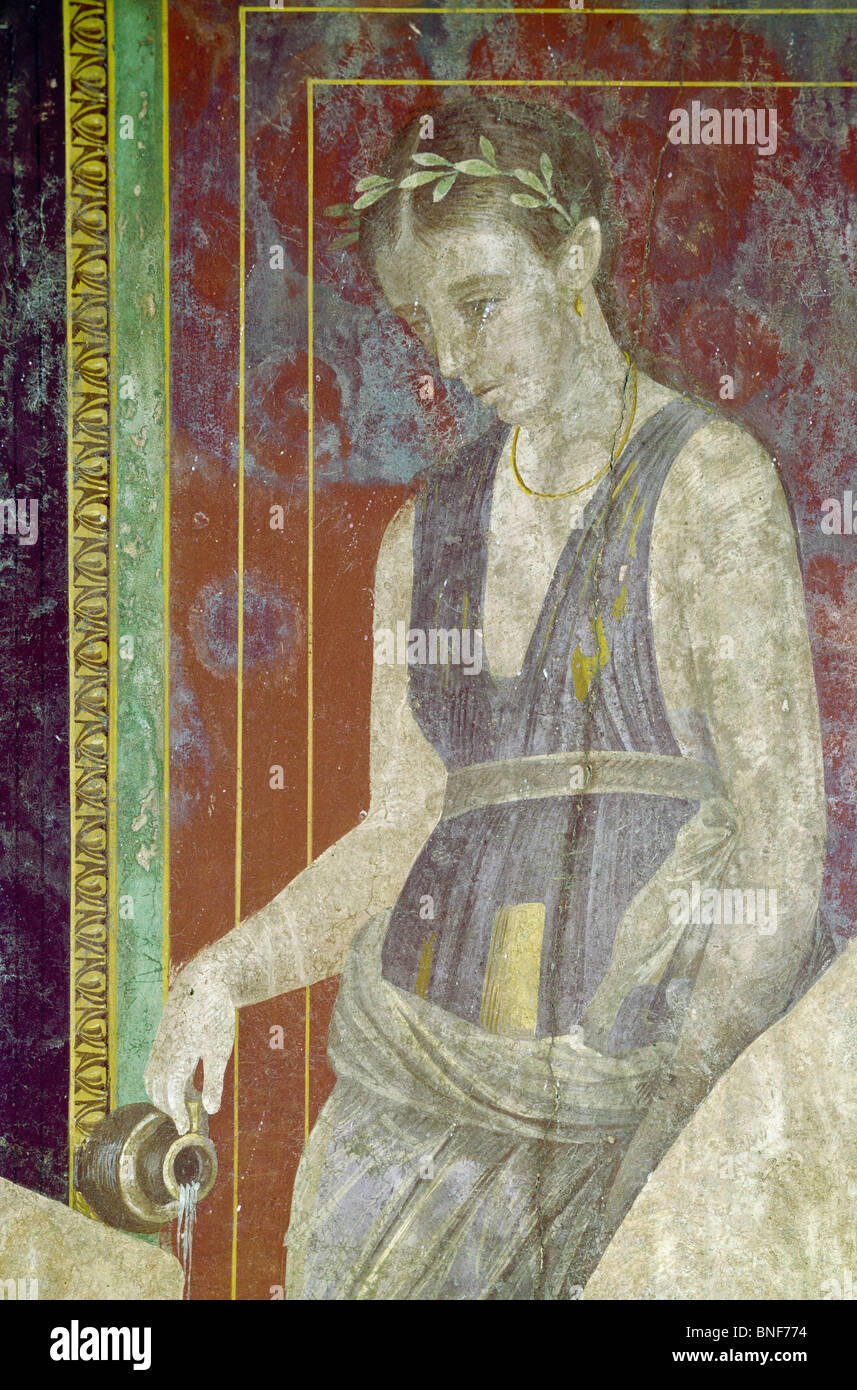 Italy, Pompeii, Villa of the Mysteries #2, fresco, circa 60-50 B.C., Roman Art - Stock Image