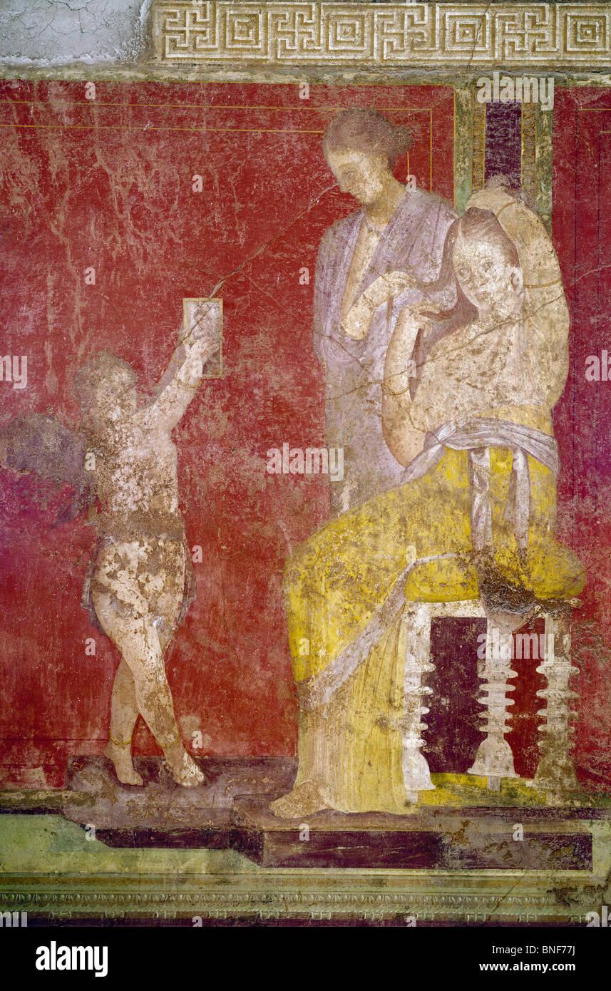 Italy, Pompeii, Villa of the Mysteries #3, fresco, circa 60-50 B.C., Roman Art - Stock Image