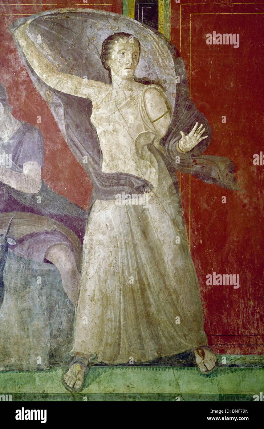 Italy, Pompeii, Villa of the Mysteries #11, fresco, circa 60-50 B.C., Roman Art - Stock Image
