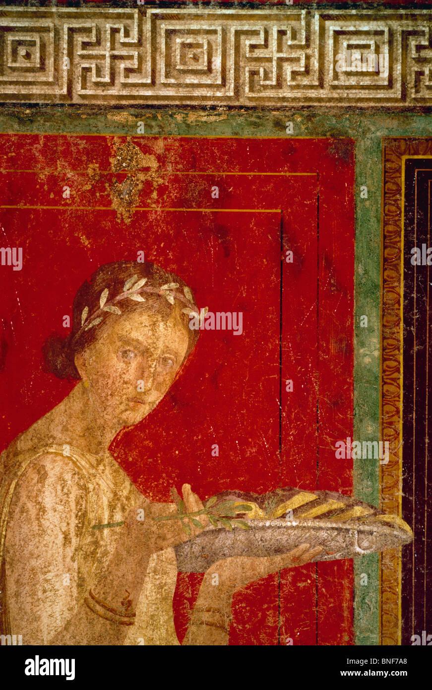 Italy, Pompeii, Villa of the Mysteries #9, fresco, circa 60-50 B.C., Roman Art - Stock Image
