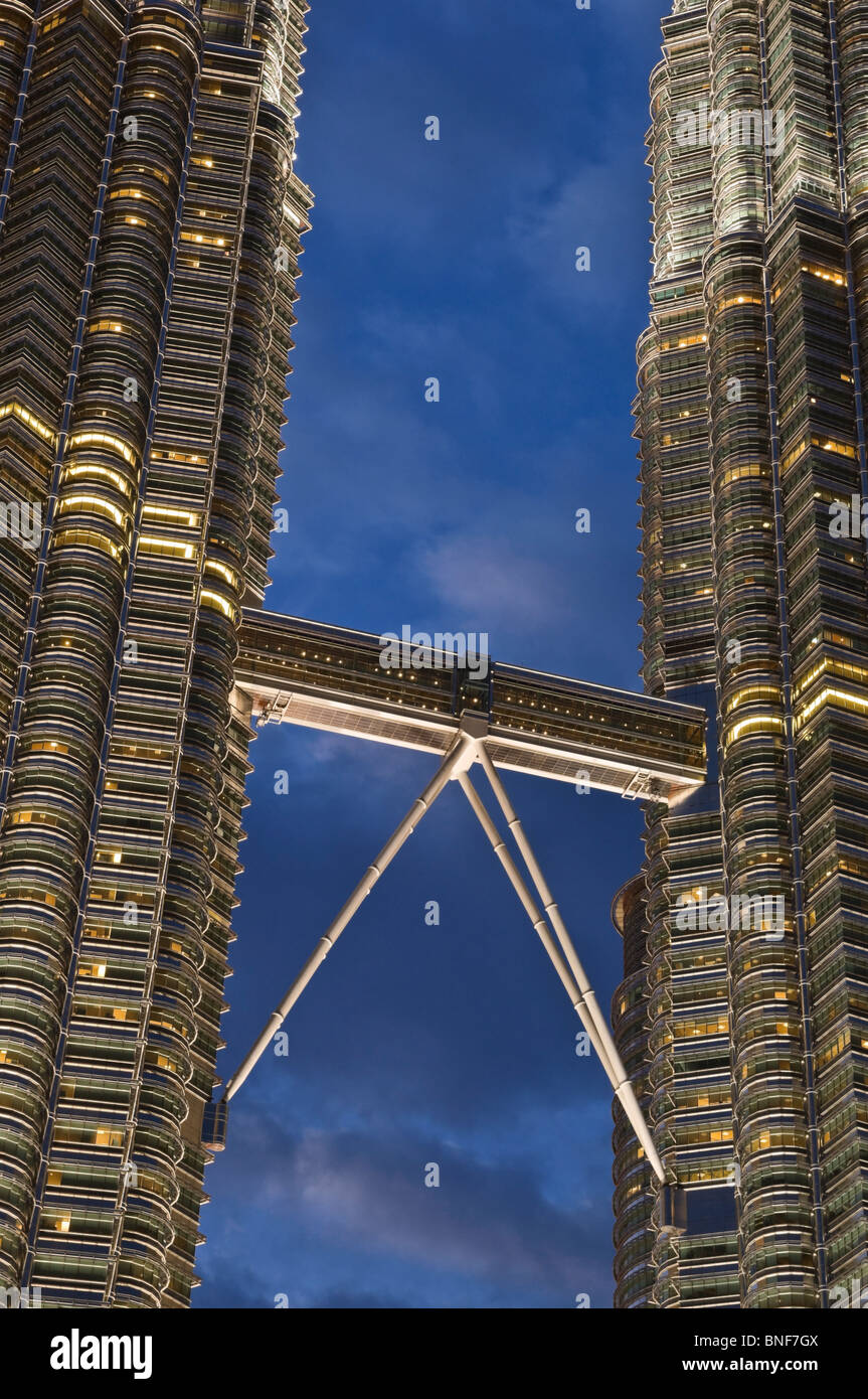Petronas Towers Skybridge Kuala Lumpur Malaysia - Stock Image