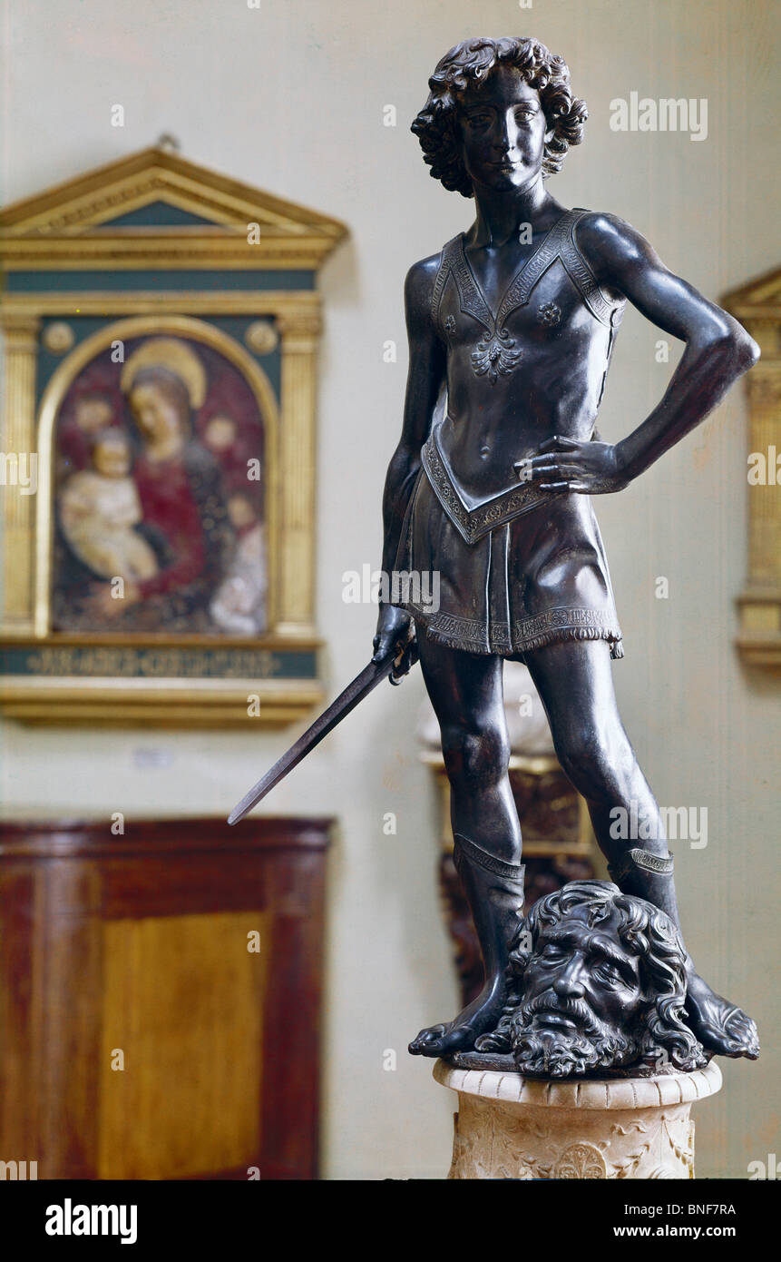 Young David by Andrea del Verrocchio, bronze, 1465, 1435-1488, Italy, Florence, Museo Nazionale de Bargello - Stock Image