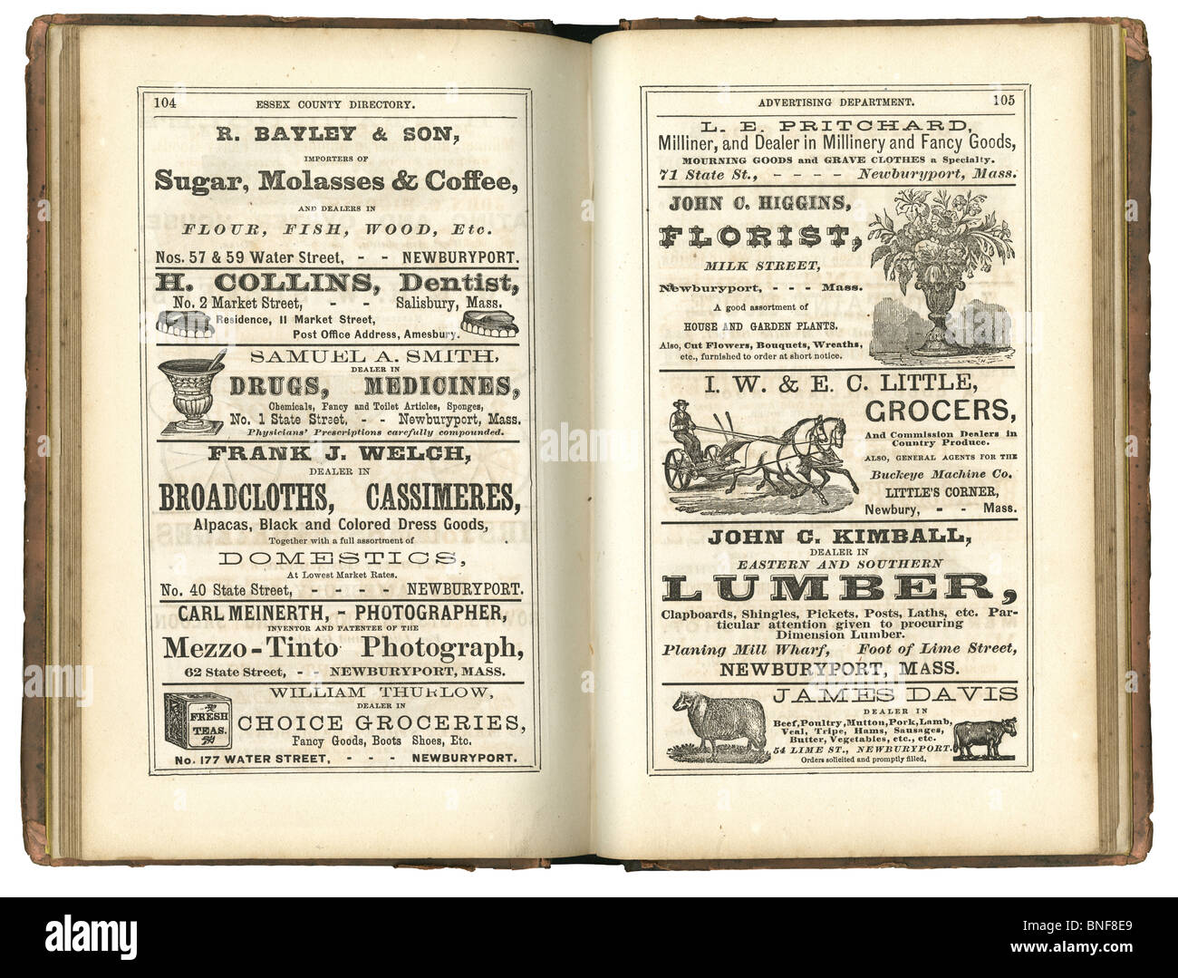 Page of old classified ads from a 1873 Essex County, Massachusetts business directory. - Stock Image
