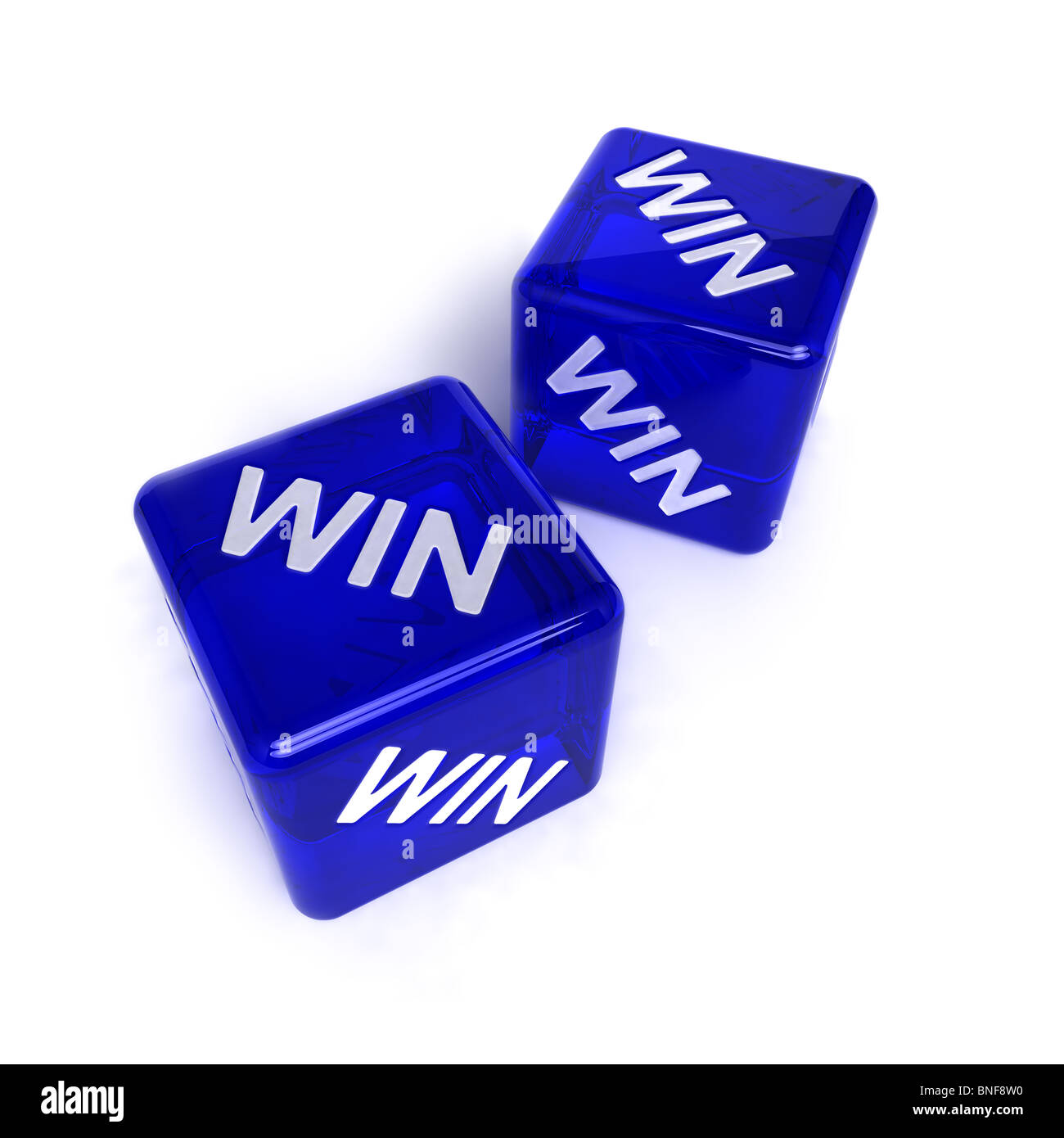 Two blue, semi-transparent dice with the word WIN on them - Stock Image