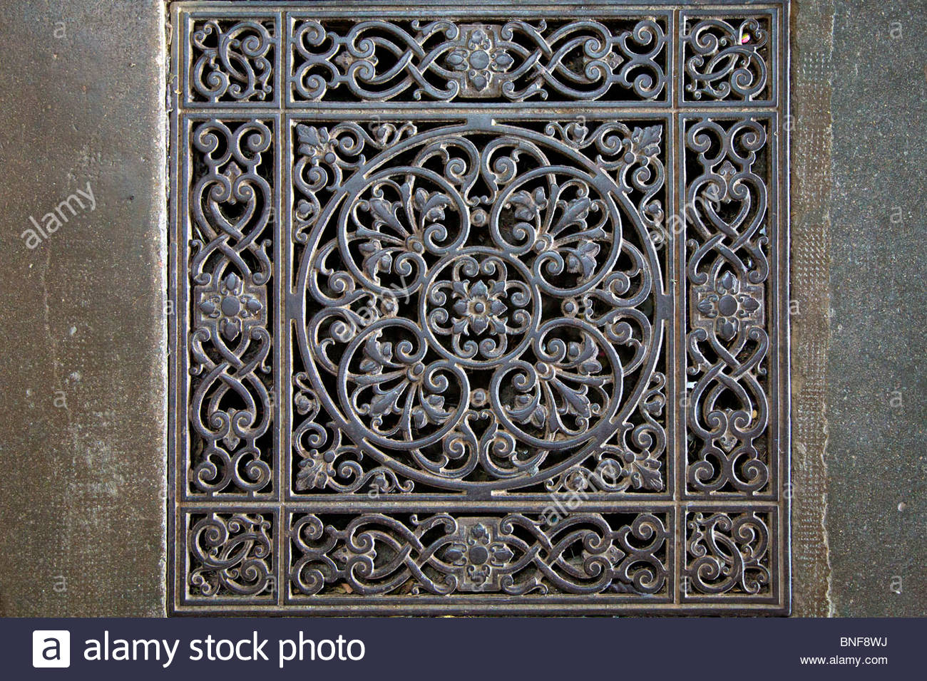 Decorative Metal Floor Grate On The Floor Of A Church In