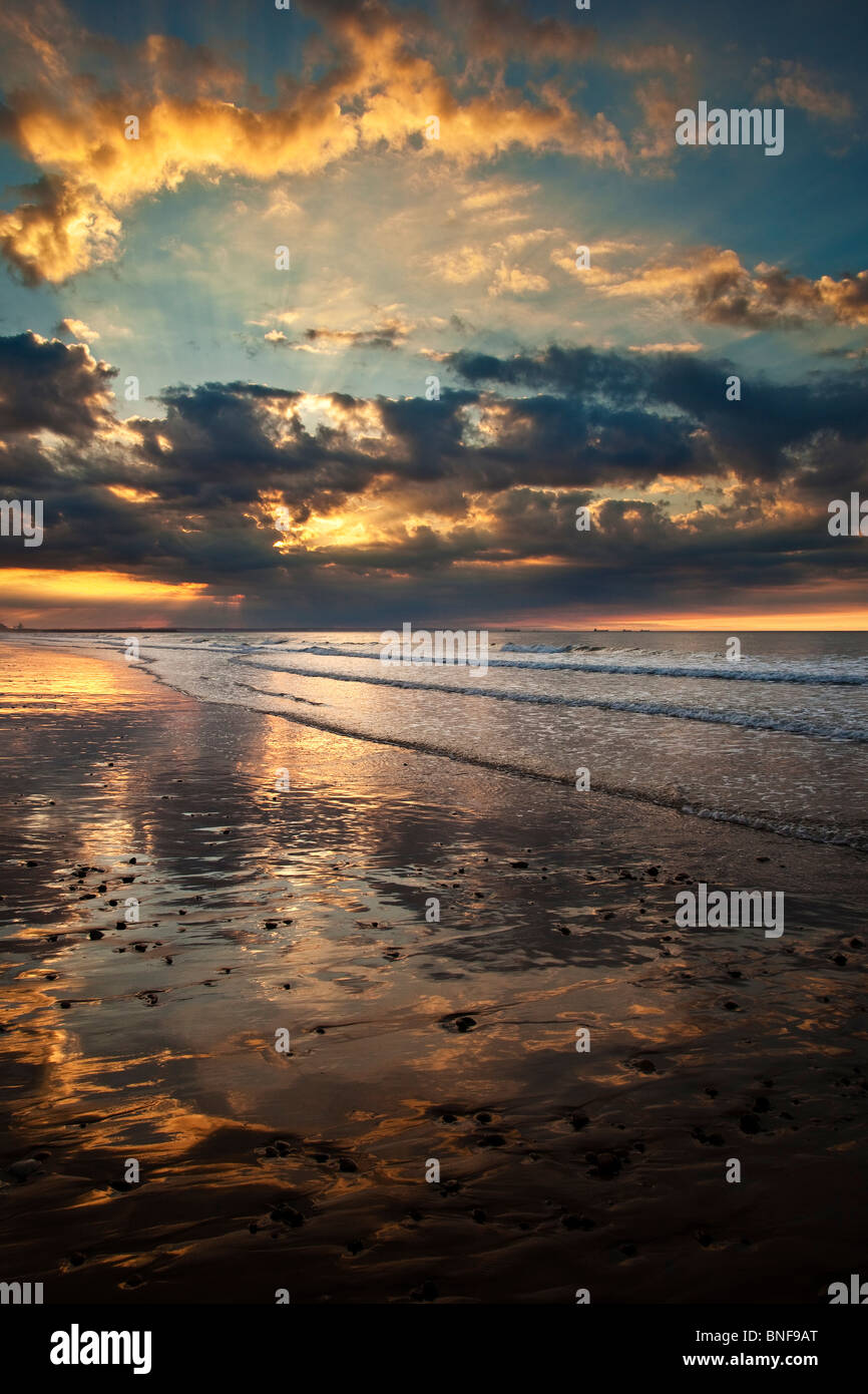 Summer Sunset at Saltburn Beach, Tees Valley - Stock Image