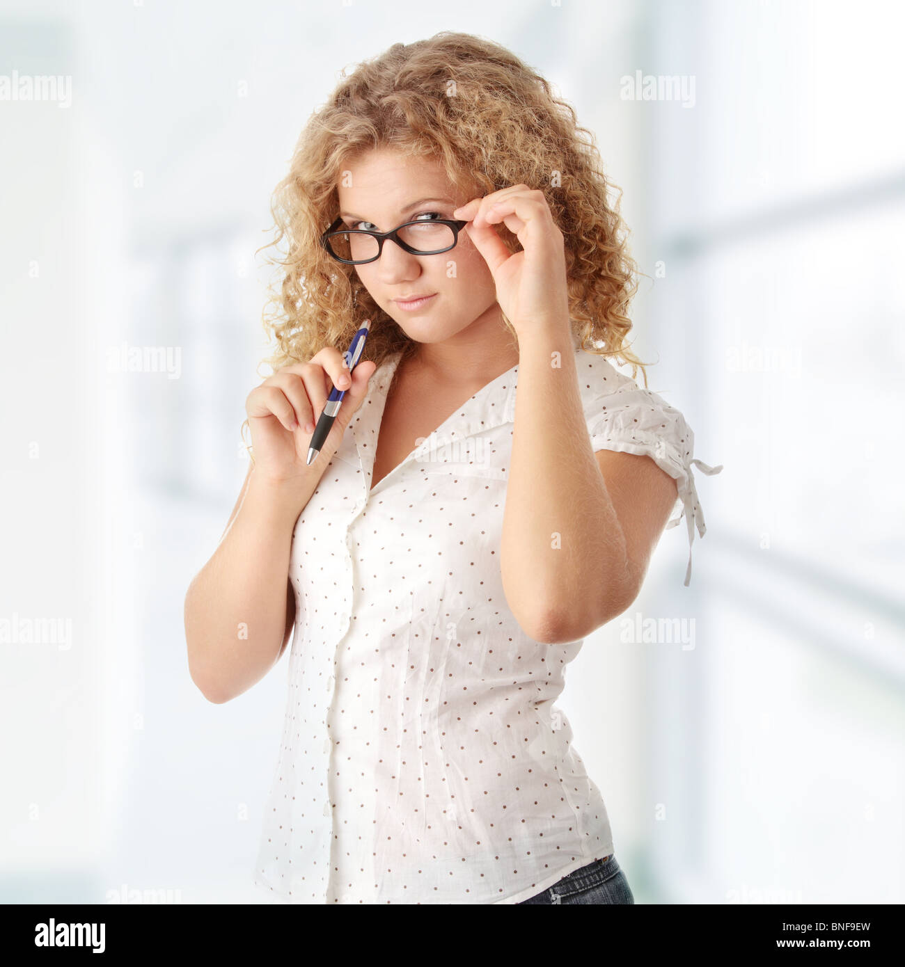 Beautiful corpulent caucasian student girl Stock Photo