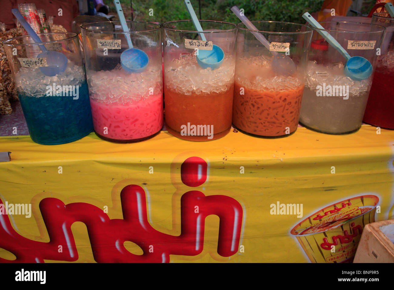 Colourful  iced softdrinks on a nightmarket at Ban Saladan, Ko Lanta, THA Thailand - Stock Image