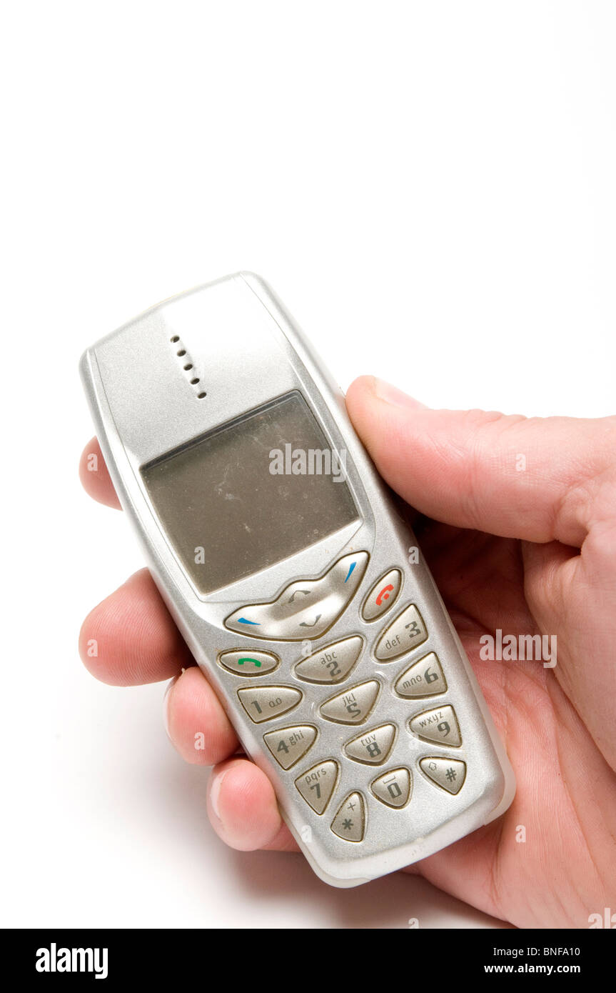 old mobile phone phones cell cellphones cellphone retro fashion fashioned style design style - Stock Image