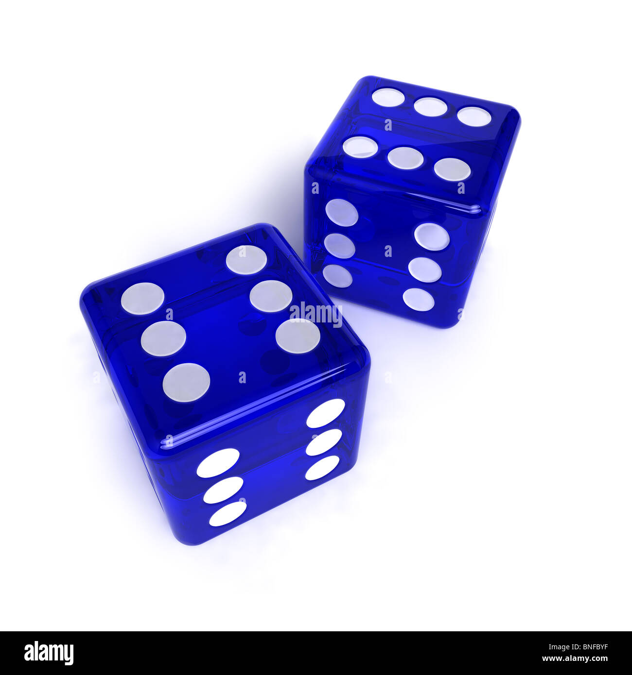 Two blue, semi-transparent dice with the number six on them - Stock Image