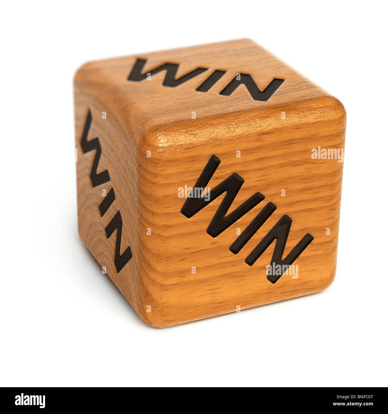 Wooden dice with word Win on it - Stock Image