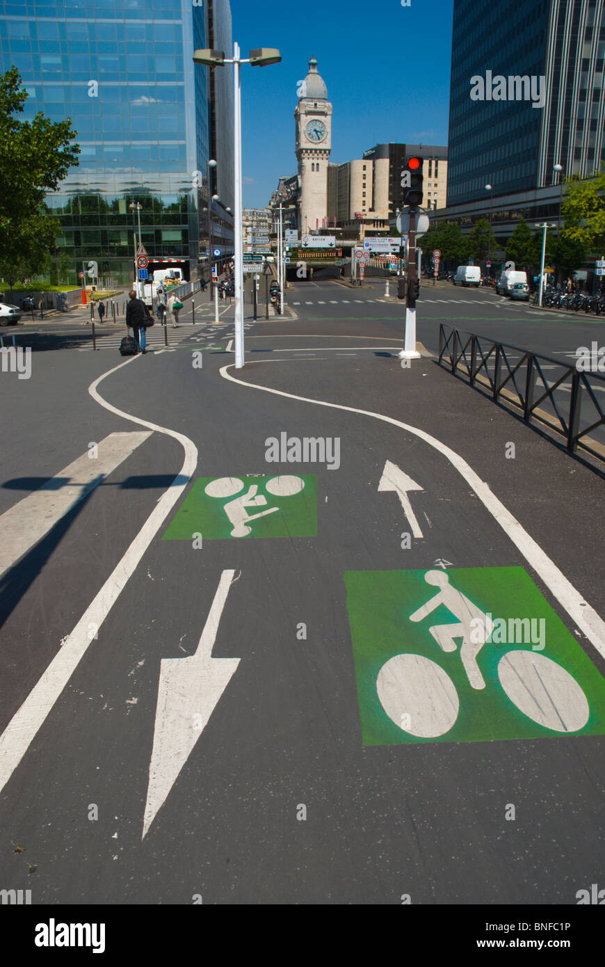 Bicycle lanes Bercy district central Paris France Europe - Stock Image