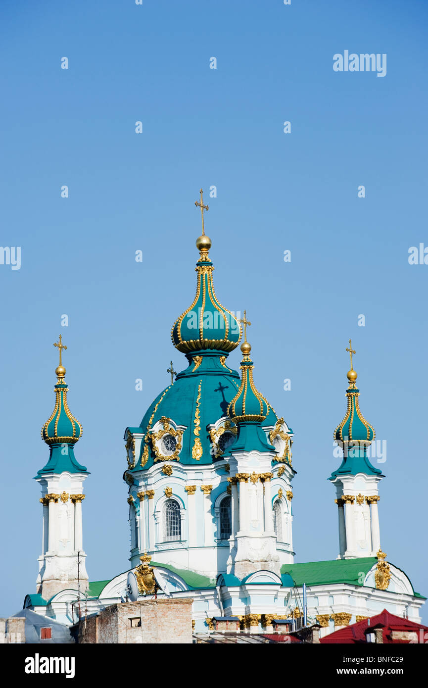 St Andrews Church 1754 by Bartelomeo Rastrelli on Andrews Decent Andriyivsky Uzviz, Kiev, Ukraine, Eastern Europe - Stock Image