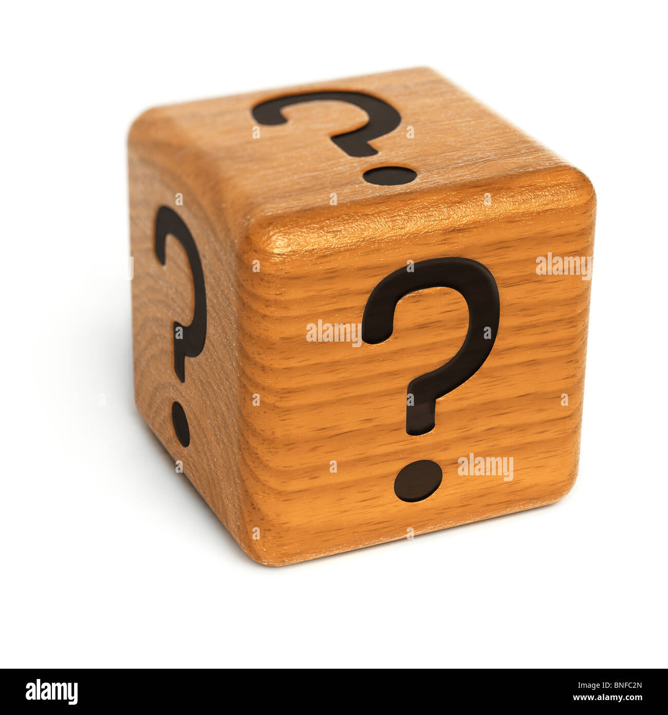 Wooden dice with question marks - Stock Image