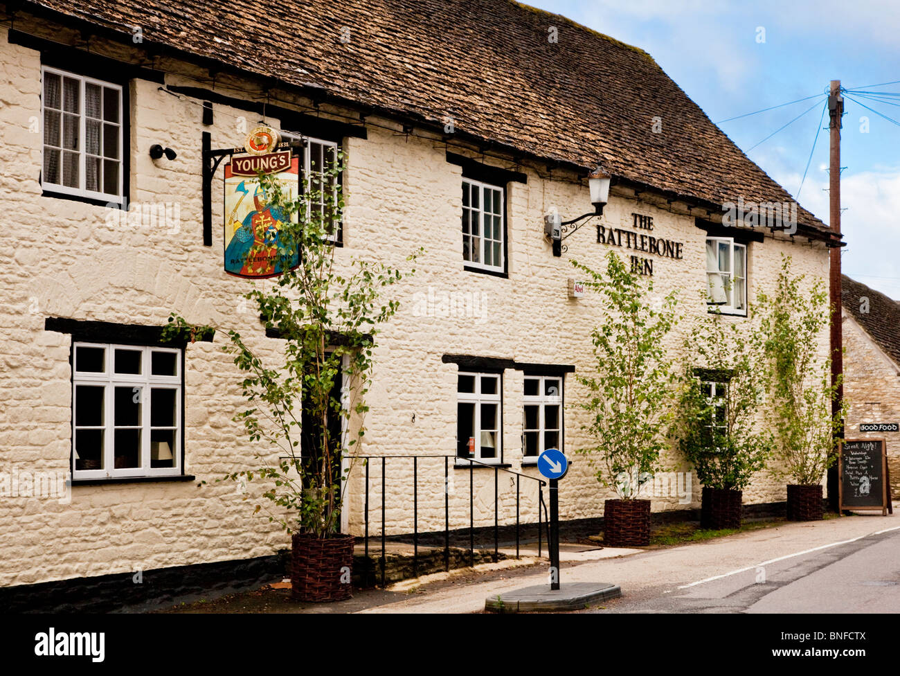 The Rattlebone Inn, a typical English village pub or inn in the Cotswold vilalge of Sherston, Wiltshire, England, - Stock Image