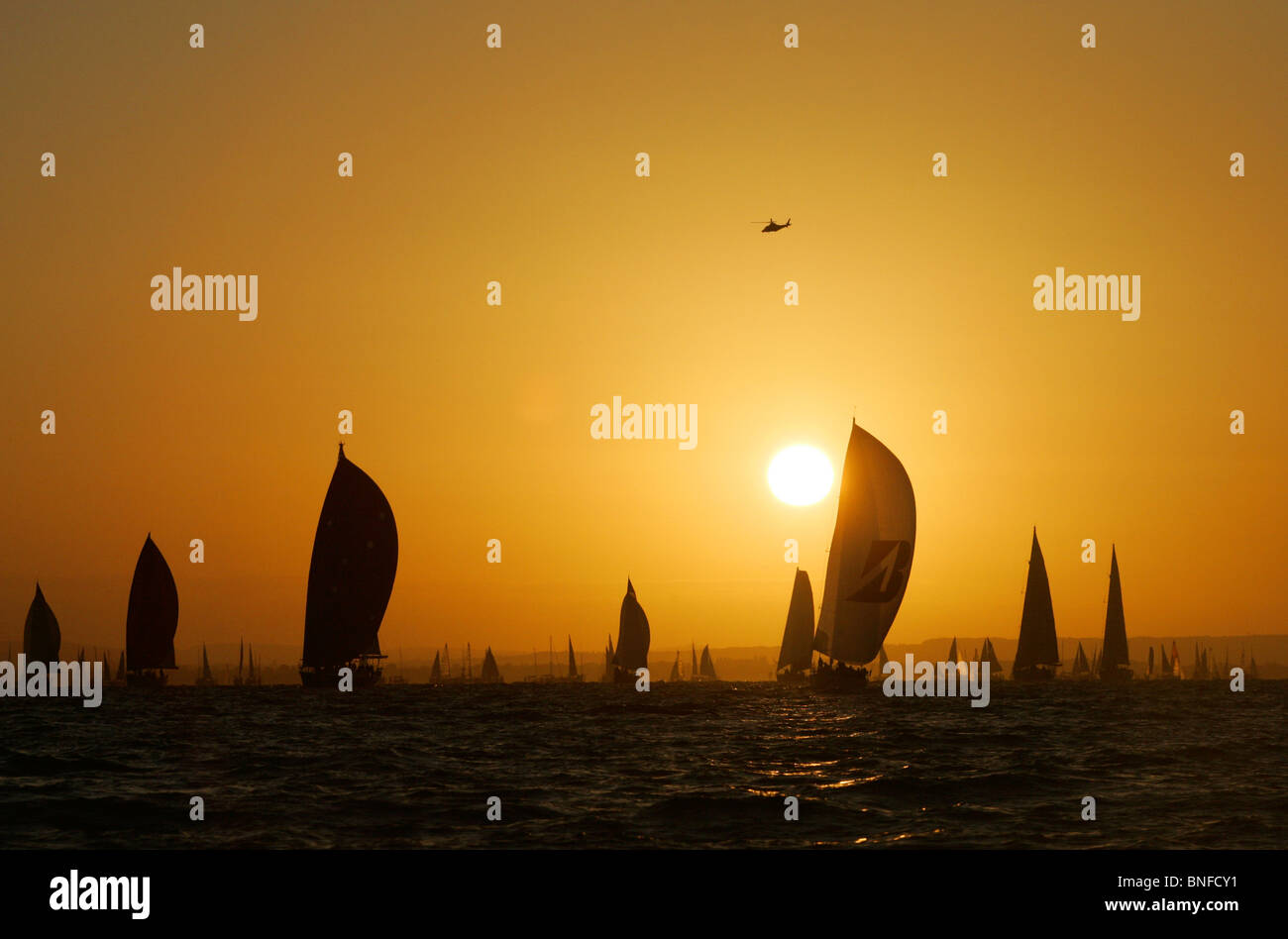 START, ROUND THE ISLAND RACE, SUNRISE, Round the Island Race - Stock Image