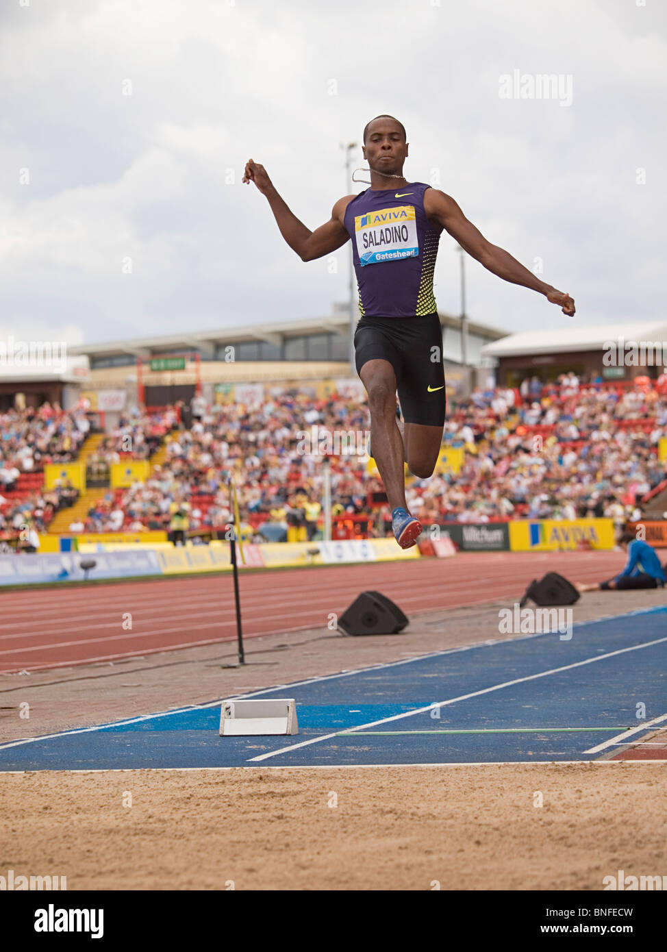 Irving Saladino jumping in IAAF Diamond League in Gateshead 2010 - Stock Image