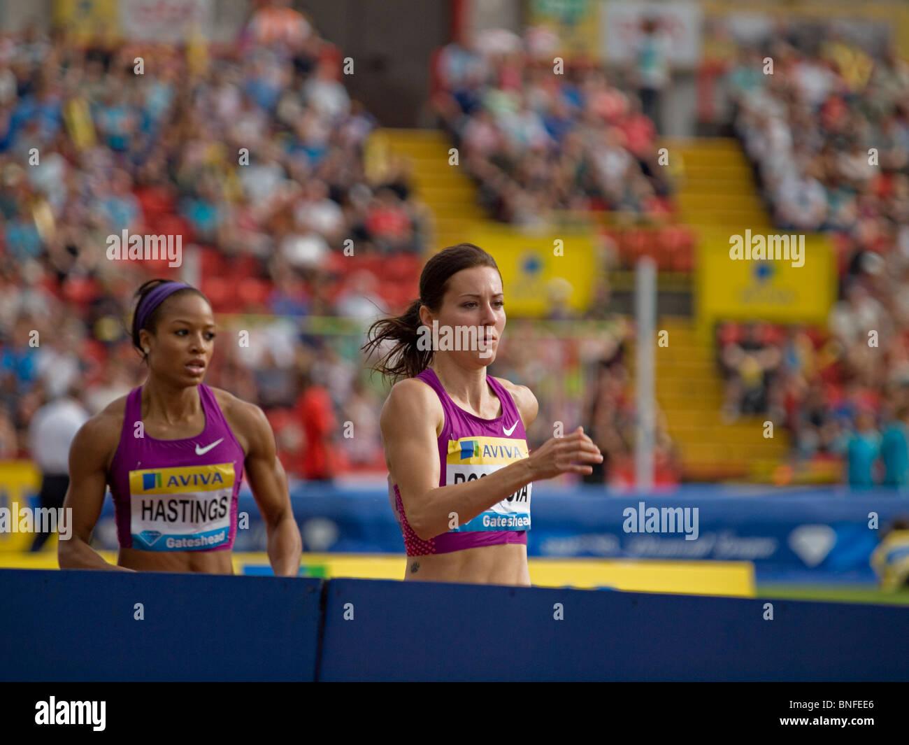 Natasha Hastings and Denisa Rosolova during 400 for women in IAAF Diamond League in Gateshead 2010 - Stock Image