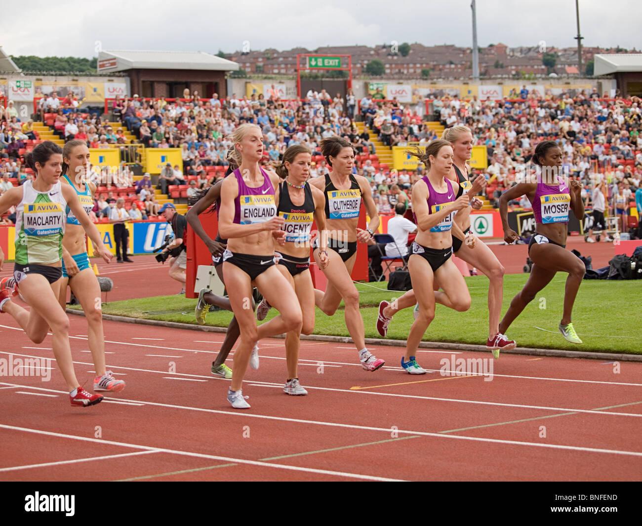 1500 meter for women at IAAF Diamond League in Gateshead 2010 - Stock Image