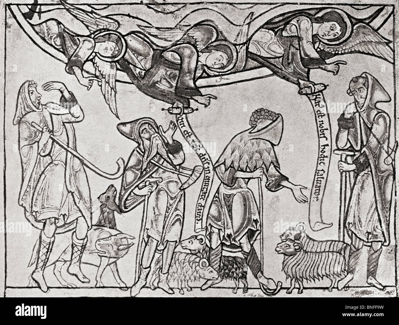 Shepherds in the middle ages. Illustration from the book The Connoisseur Illustrated published 1904. - Stock Image