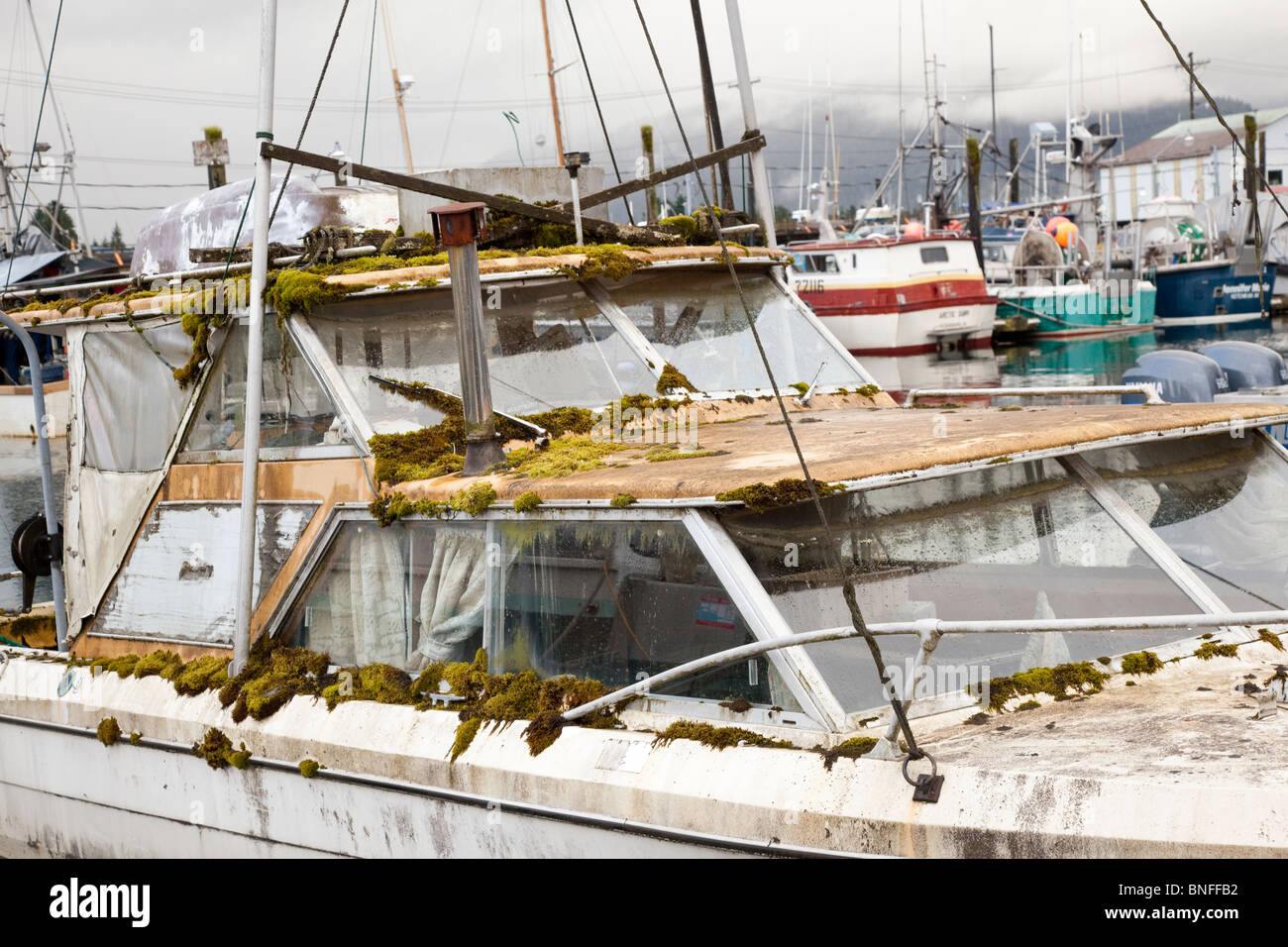 USA; Alaska; Petersburg; neglected boat - Stock Image