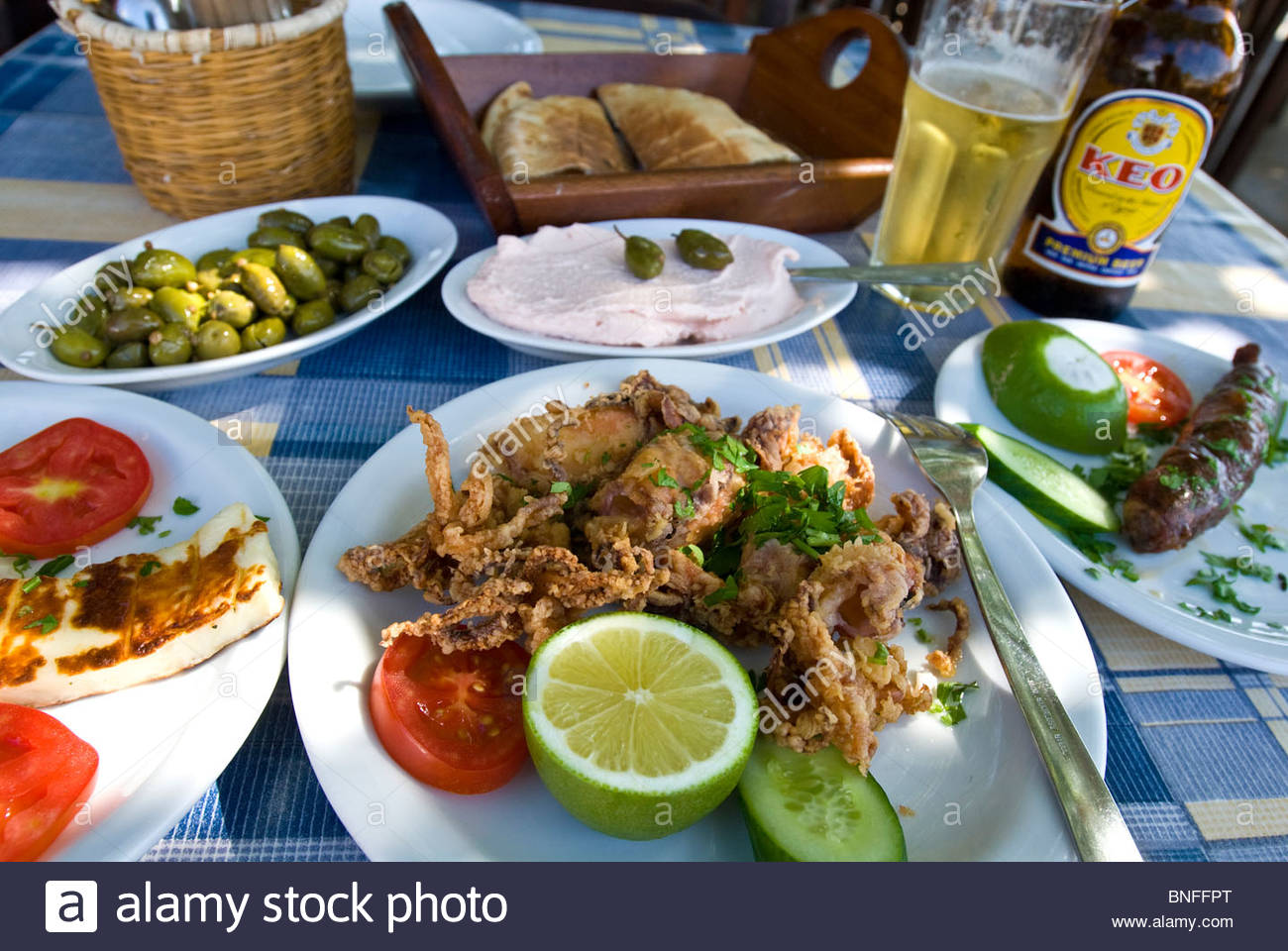 Meze Cypriot style meal, Cyprus - Stock Image