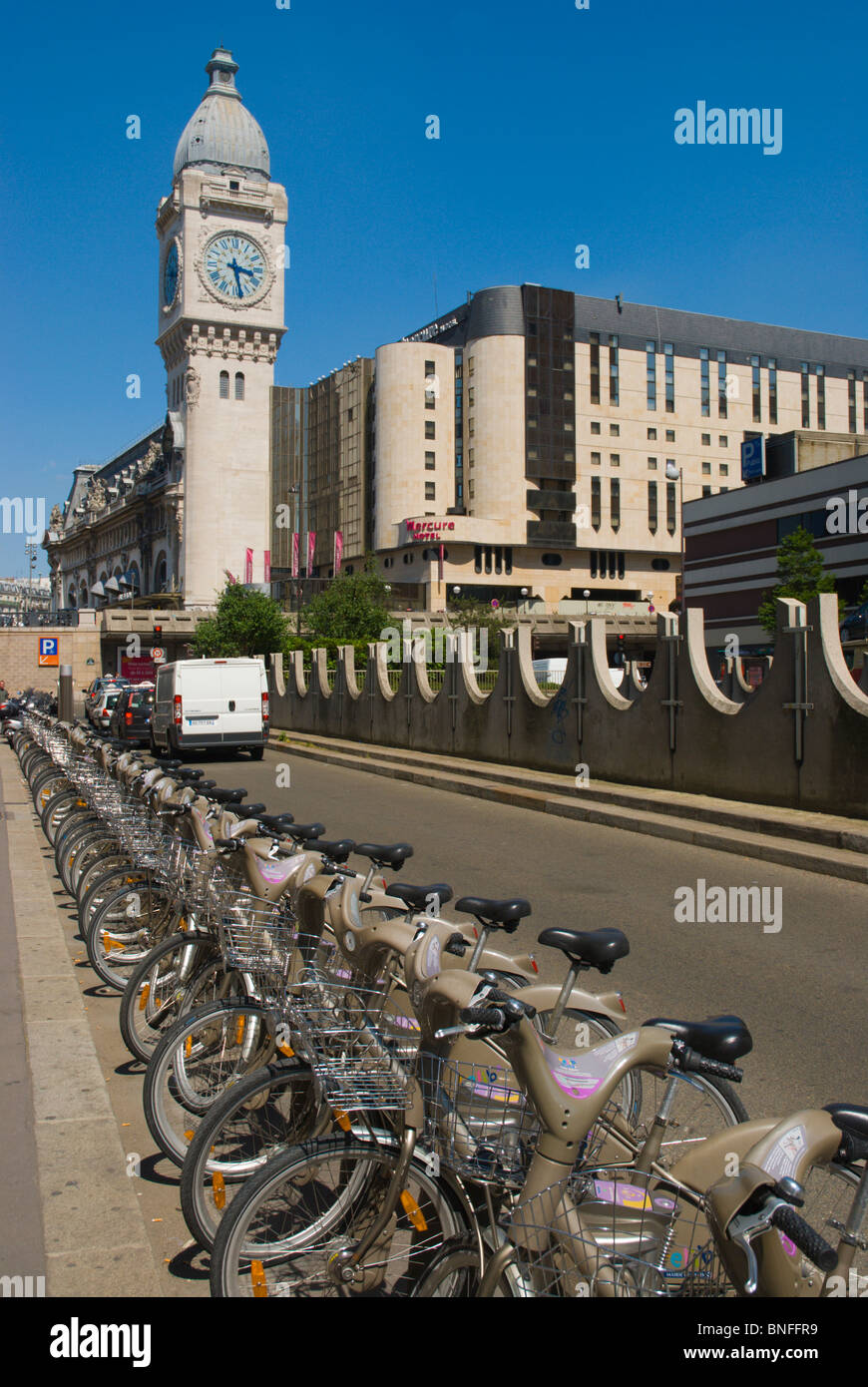 Velib rental bicycles Bercy district central Paris France Europe - Stock Image