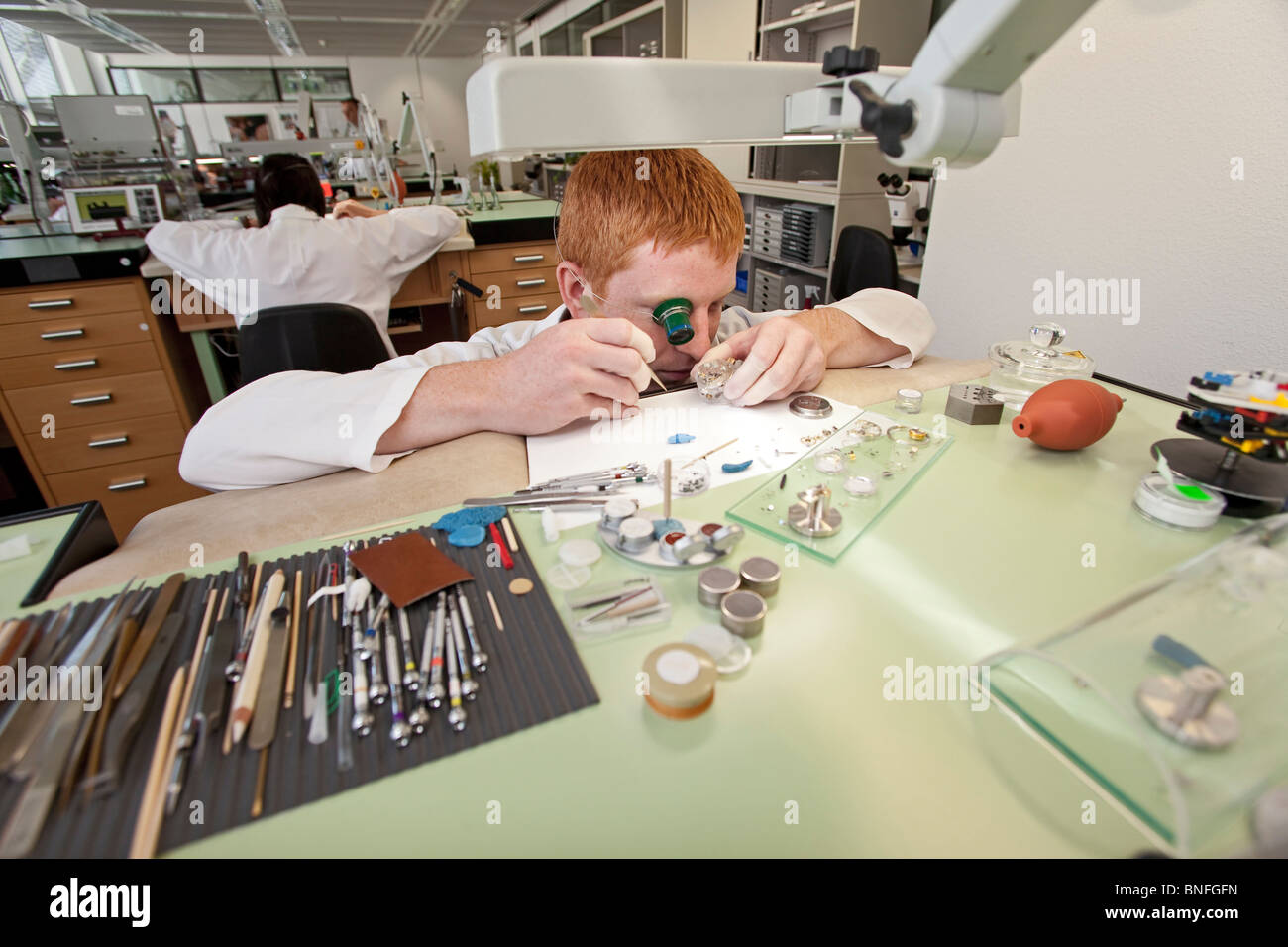 Lange und Soehne GmbH: manufacture for precious watches in Glashuette, Germany - Stock Image