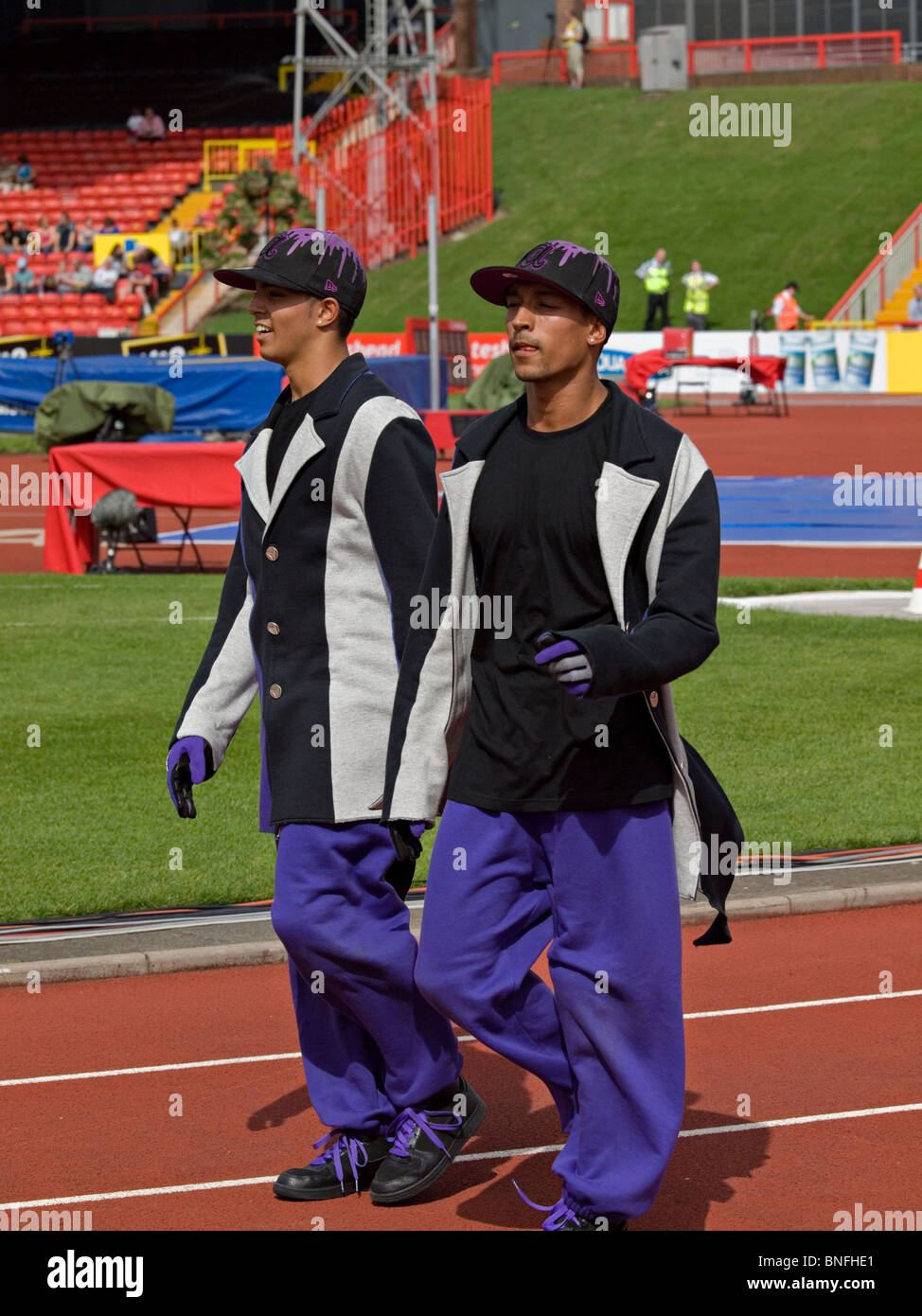 some of the dancers from diversity after dancing at the IAAF Diamond League in Gateshead 2010 - Stock Image