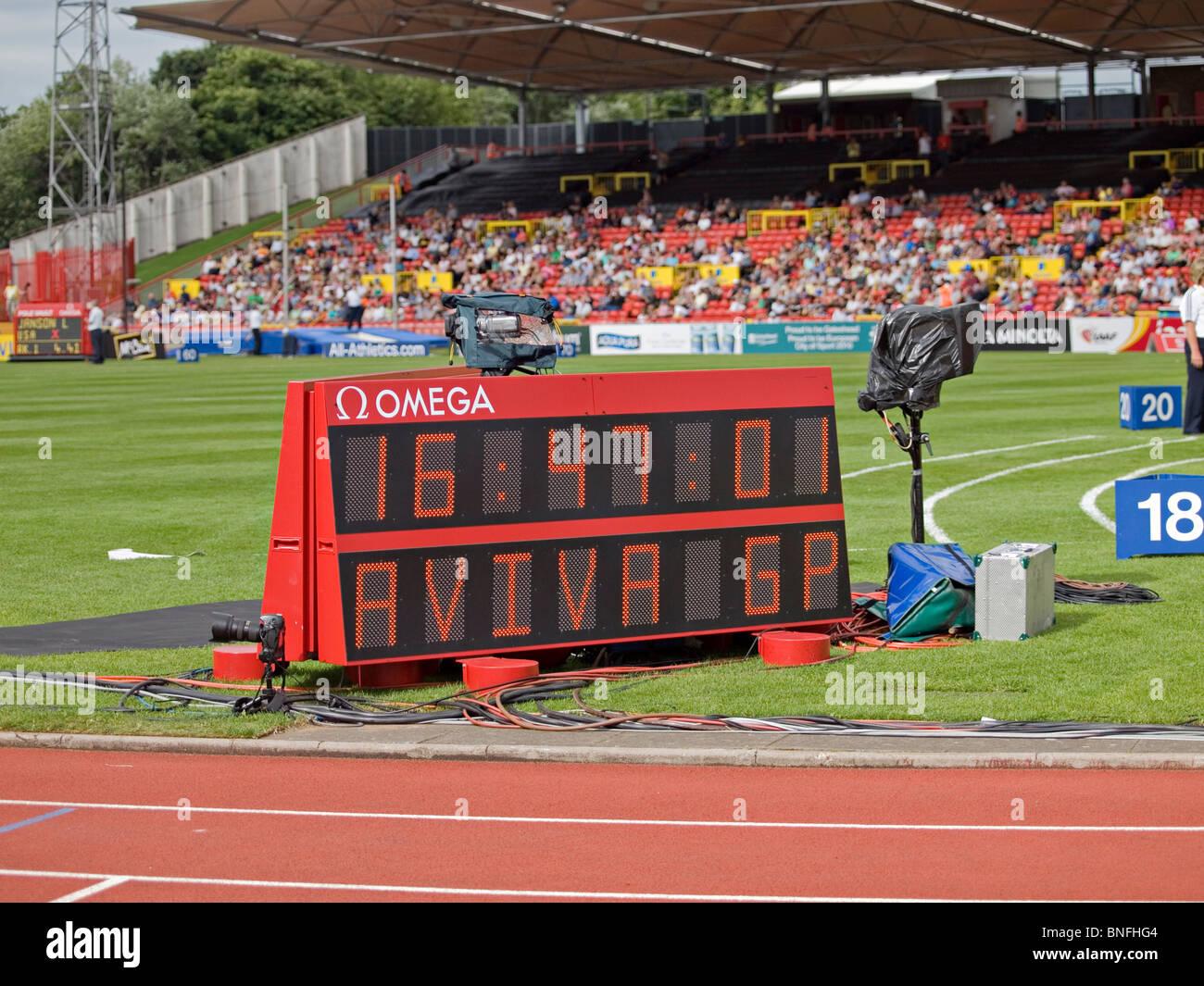 The scoreboard at the finish line at IAAF Diamond League in Gateshead 2010 - Stock Image