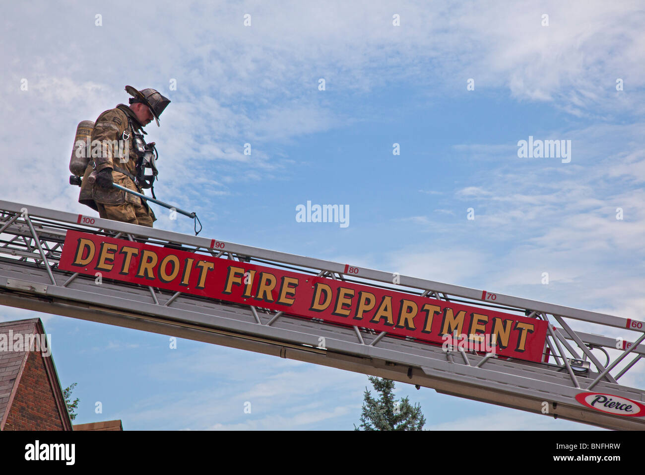 Detroit Firefighter - Stock Image