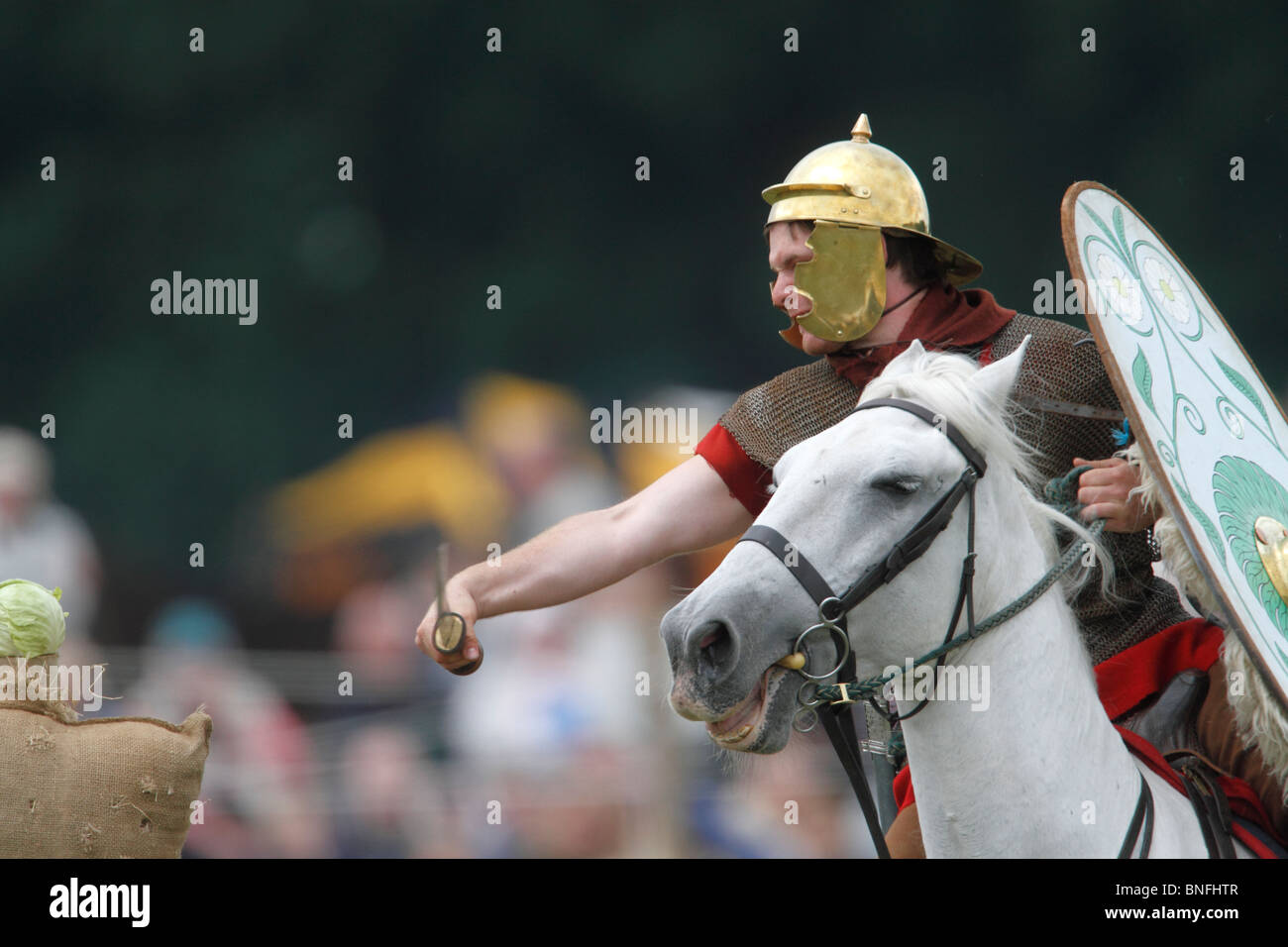 Roman auxiliary cavalryman practicing by chopping cabbage on the gallop Festival of History 2010, Kelmarsh Hall, - Stock Image