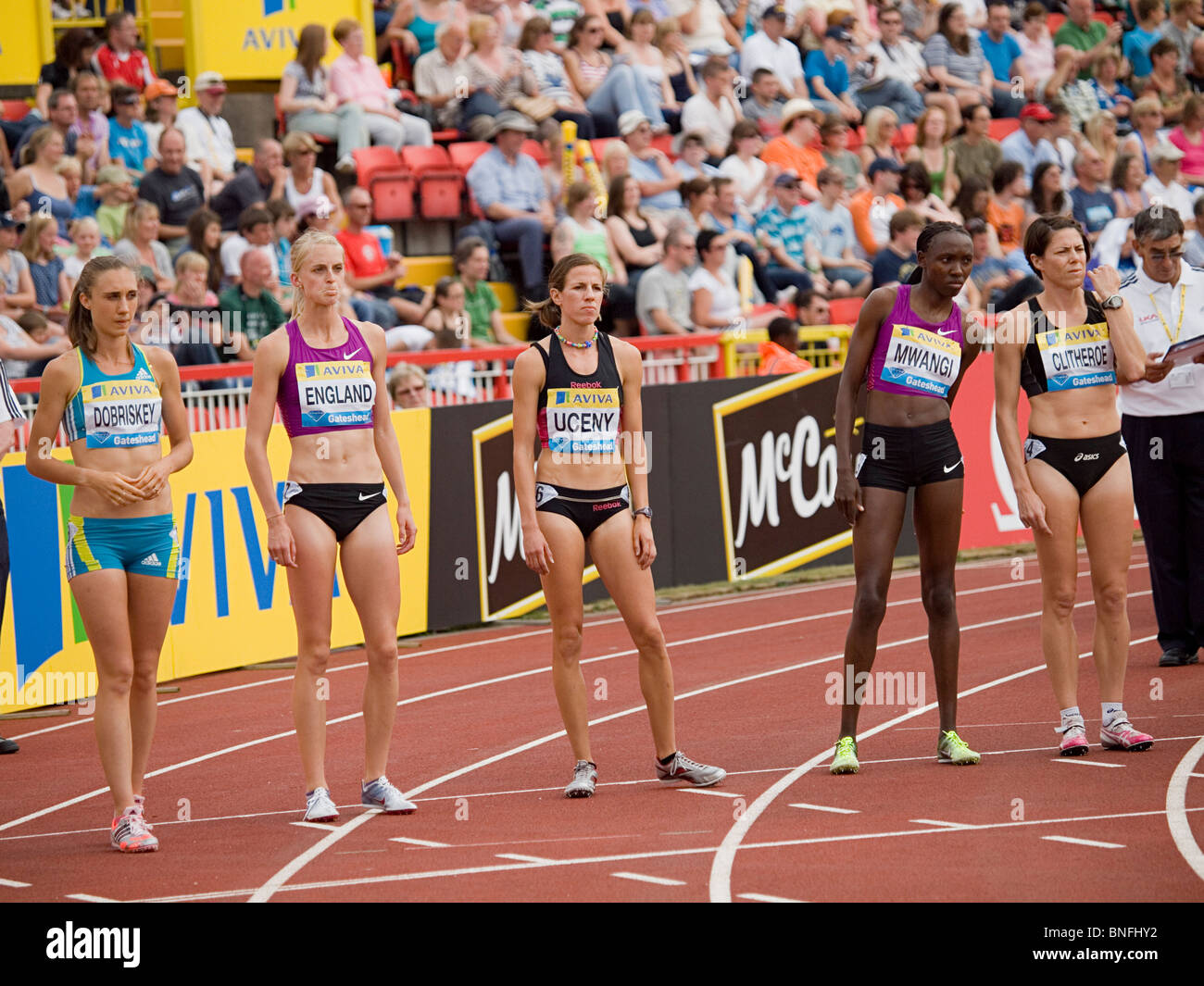 Runners preparing for womens 1500meters in IAAF Diamond League in Gateshead 2010 - Stock Image
