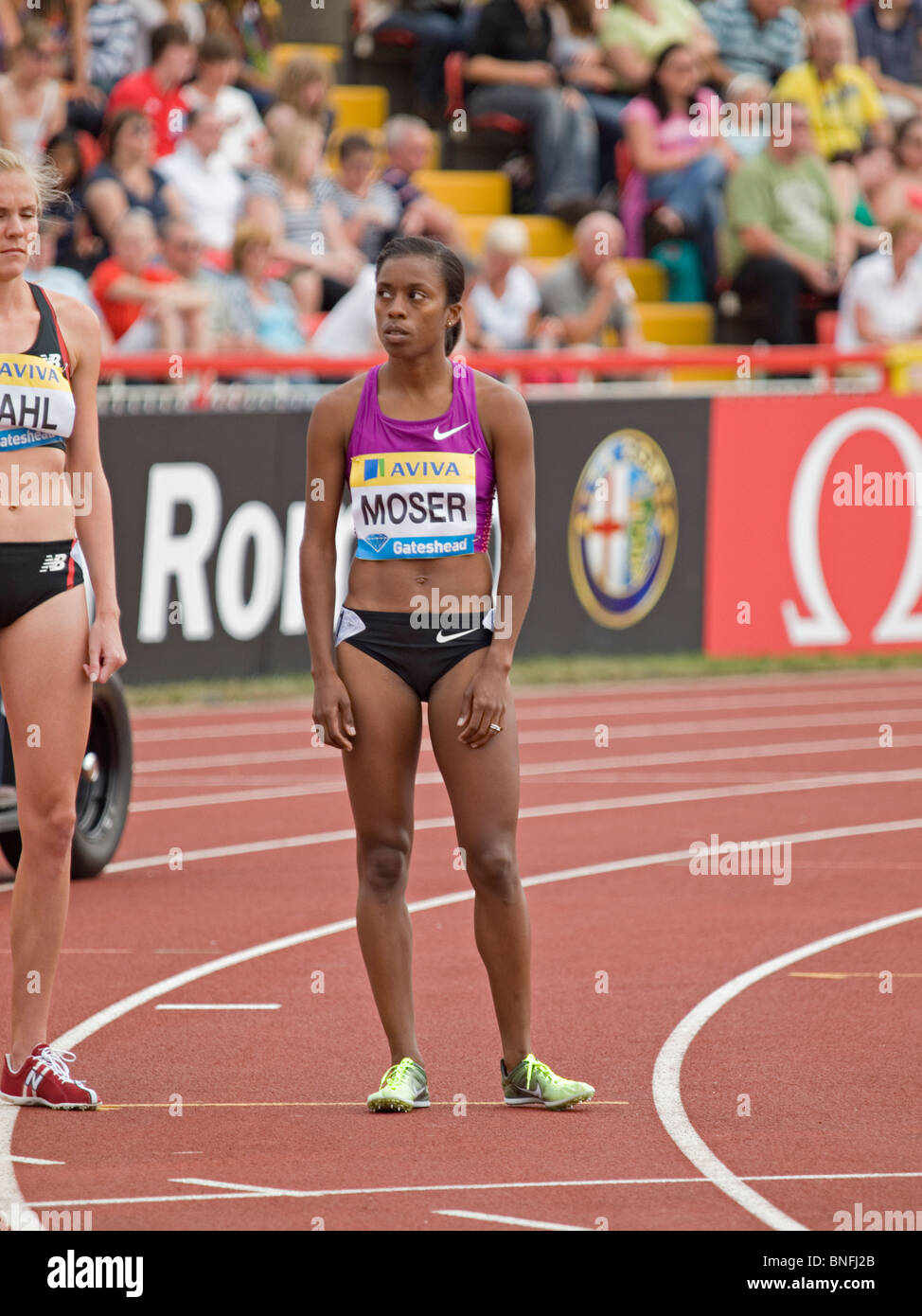 Treniere Moser preparing for womens 1500meters in IAAF Diamond League in Gateshead 2010 - Stock Image